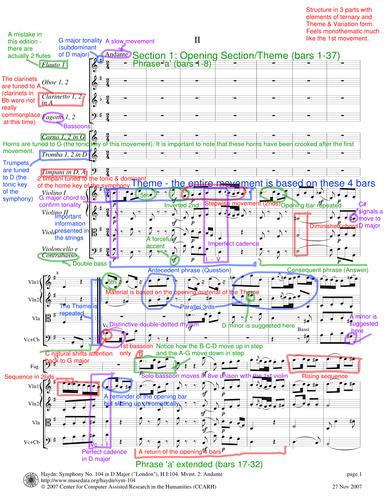 Score Annotation: Haydn Symphony No. 104, Movement II