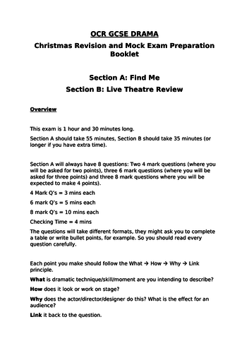 Find Me - OCR GCSE Drama SHORT Revision + Section B Guide