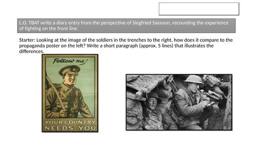 Year 8 World War 1 writing and Poetry lesson