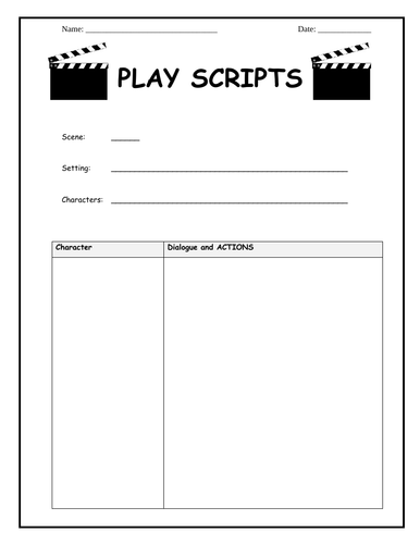 Play script writing template