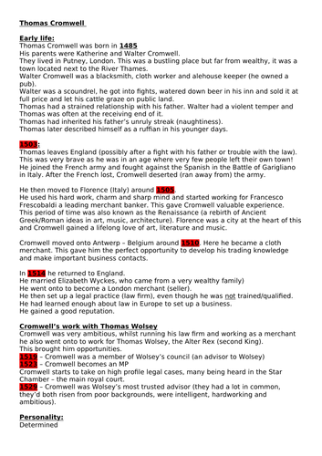 Thomas Cromwell Edexcel GCSE Henry VIII and his ministers