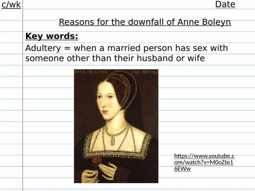 Reasons for the fall of Anne Boleyn Edexcel