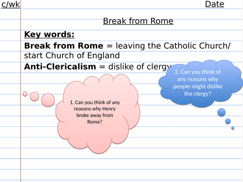 Break with Rome Henry VIII Reformation Edexcel