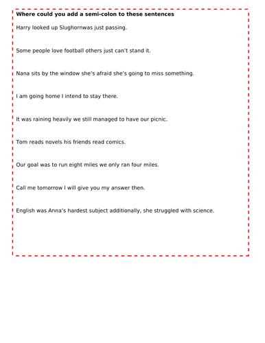 Semi colon worksheet by MissCarterMakings123 | Teaching