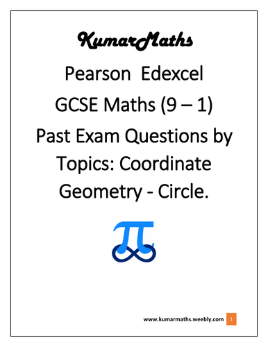 Pearson Edexcel GCSE Maths 9-1 Past Exam Questions By Topics: Coordinate Geometry -  Circle
