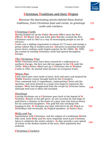Punctuation Practice - Christmas Traditions