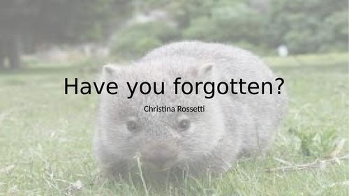 A2 Literature WJEC Rossetti 'Have you forgotten?'
