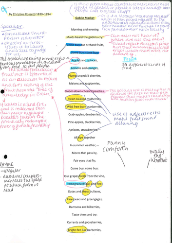 A2 Literature WJEC 10 annotated Rossetti poems PART 2
