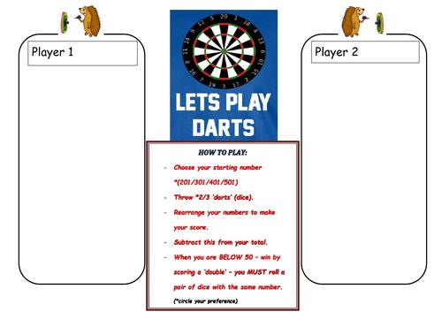 Fun Darts Subtraction Board Game