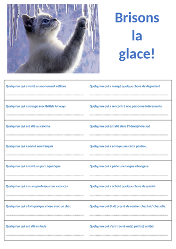 Brisons la glace ! Quick Ice-Breaker activity after holidays in French.