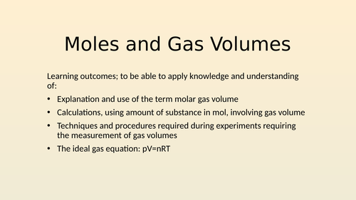 Moles and Gas Volumes