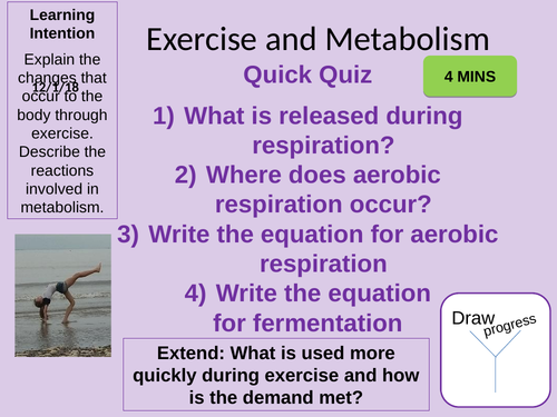 Metabolism and The Response to Exercise Outstanding Lesson AQA New 9-1 Bioenergetics