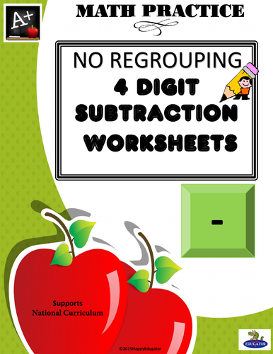 4 Digit Subtraction No Regrouping UK Version