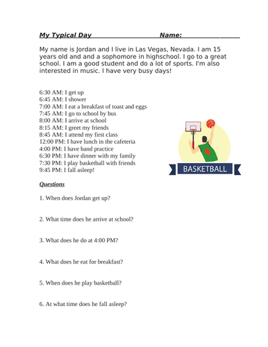My Typical Day Beginner Reading/Telling Time/Hobbies: ESL / EFL / ELL (SUB PLAN)