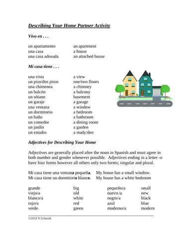 Describing Your Home Partner Activity / La Casa