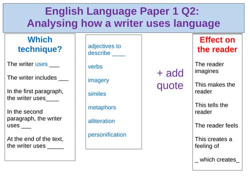 AQA English Language Paper 1 GCSE Writing Frame, Word-mats, Sentence starters