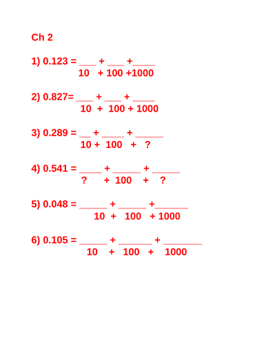 Maths  - Recognise and use thousandths