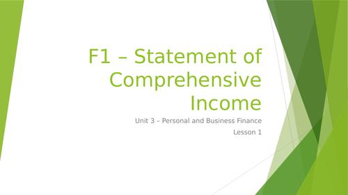 L3 BTEC Business (2016 Spec) Unit 3 Exam - Statement of Comprehensive Income