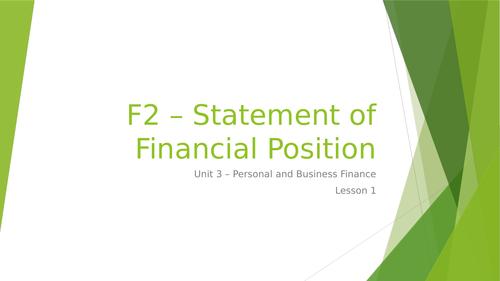 L3 BTEC Business (2016 Spec) Unit 3 Exam - Statement of Financial Position