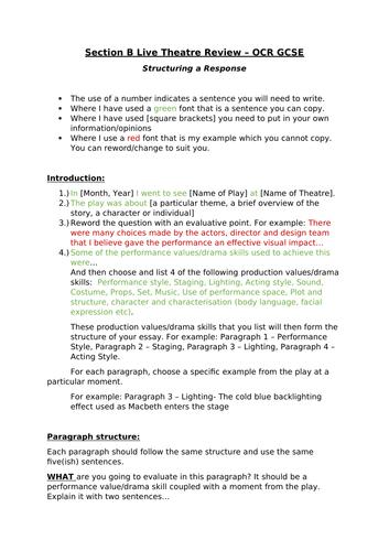 Live Theatre Review Writing Guide/Frame OCR GCSE Drama