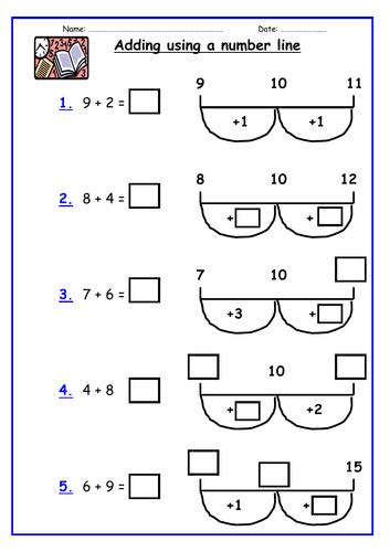 KS1 Addition: Adding using a number line (bridging 10 only)