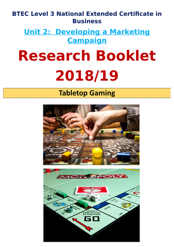 *NEW* BTEC Level 3 Business: Unit 2-  Marketing Campaign Exam: Tabletop Gaming Research Booklet