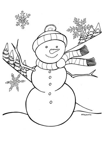 Christmas colouring sheets: snowman, nativity, Christmas tree and snowflakes