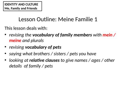 Meine Familie  und Haustiere KS4