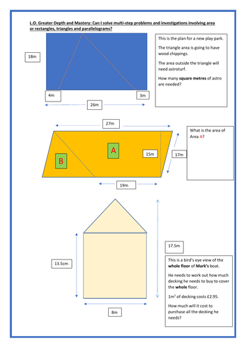 Area of rectangles, triangles and parallelograms for Greater Depth Year 6