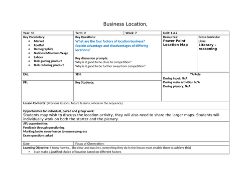 Locating a business. Business Location - Lesson plan, power point and activity