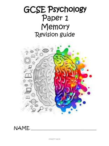 AQA GCSE [9-1] - PSYCHOLOGY PAPER 1 MEMORY REVISION GUIDE