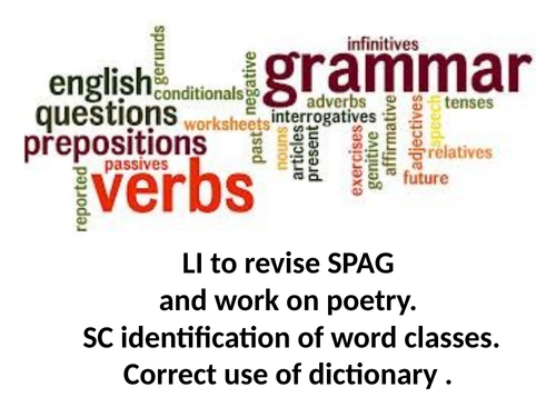 Spag revision and word class work and activty