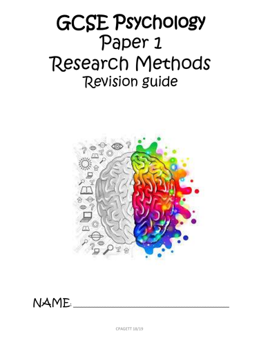 AQA GCSE [9-1] - PSYCHOLOGY PAPER 1 RESEARCH METHODS REVISION GUIDE