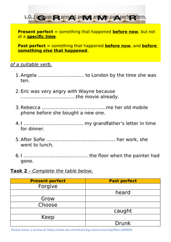The Perfect Form Worksheet KS2