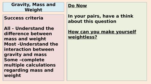 AQA Gravity, Mass and Weight