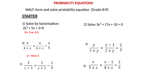 Probability Equations
