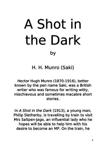 Comprehension  - 'A Shot in the Dark' by Saki