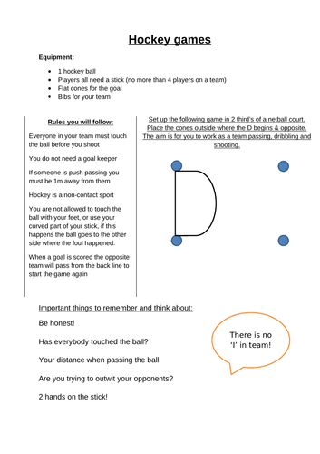 Hockey differentiated games ideas