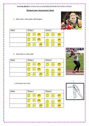 Shot Putt Peer Assessment sheet