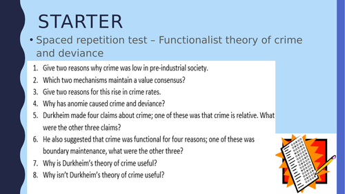 Functionalist Theories of Crime Analyse 10 mark question