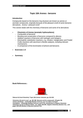 Edexcel chemistry Topic 18A: Arenes (Benzene)