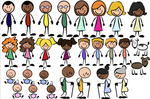 Family cliparts- Stickmen- For Personal or Commercial Use