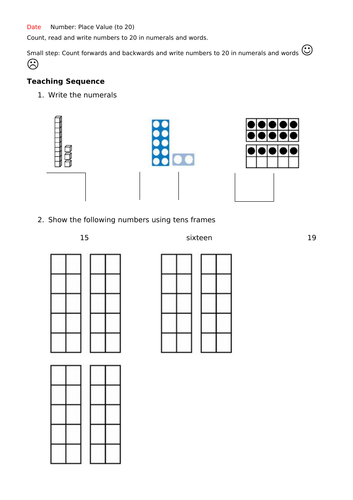 Year 1 Autumn Block 4 Week 1 Place Value to 20 Lesson Plans, resources and powerpoints