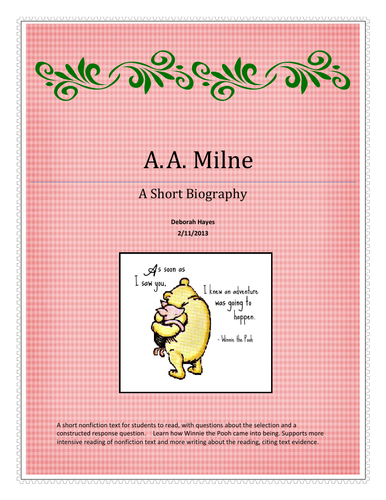 A. A. Milne Biography Activity and Constructed Response - UK Version