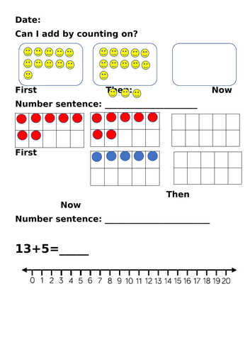 Add by counting on worksheet and homework year 1