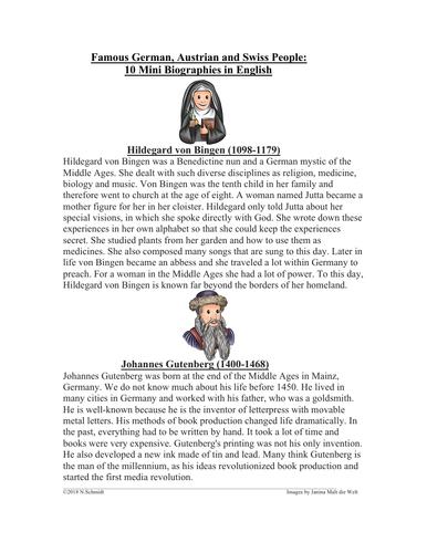 Famous German Speaking People: 11 Mini Biographies (English Version)