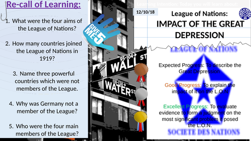 The Great Depression & Impact on 'The League of Nations'.