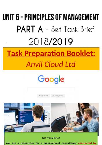 *NEW* BTEC Level 3 Business: Unit 6- Principles Of Management Exam: Anvil Ltd Preparation Booklet