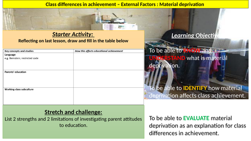 External Factors affecting class achievement: Material Deprivation