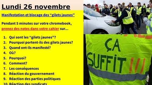 Les gilets jaunes - manifestations et grèves